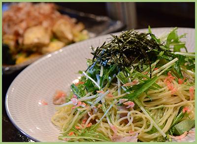 水菜のサラダスパゲッティー